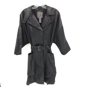 CK Calvin Klein Black Trench Coat Jacket Classic